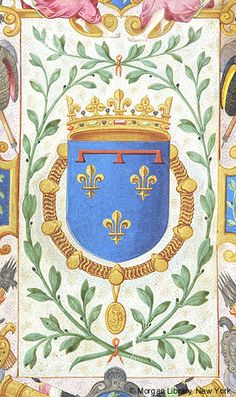 Escutcheon with arms of Henry III, King of France as Duke of Anjou (azur three fleur-de-lis a label of three points gules) | Book of Hours | France, probably Tours | ca. 1530-1535 | The Morgan Library & Museum