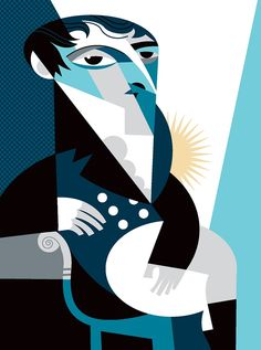 Manuel Belgrano, creator of the flag of Argentina, by Pablo Lobato Art And Illustration, Illustrations And Posters, Pablo Picasso, Jazz Poster, Cubism Art, Celebrity Caricatures, Colorful Paintings, Comic Art, Illustrators