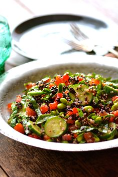 Quinoa, Edamame & Black Rice Salad Cooking Black Rice, Black Rice Salad, Red Split Lentils, Quinoa Benefits, Quinoa Spinach, Edamame Beans, Toasted Pumpkin Seeds, Salad Ingredients, How To Cook Quinoa