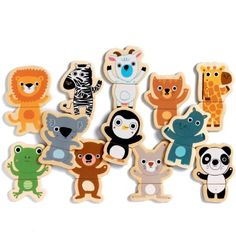 Djeco / Wooden Magnet Play Set, Hello Animals: Toys & Games