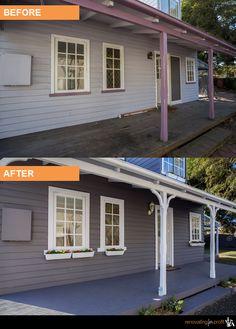 65 Ideas House Facade Renovation Shutters For 2019 Best House Plans, Small House Plans, Renovating For Profit, Outside House Colors, Home Exterior Makeover, Exterior Paint Colors, Paint Colours, House Plants Decor, Facade House