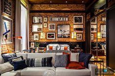 Multifunctional Brazilian Loft Apartment in the Style of 70S. Palette: orange, brown, black, cream