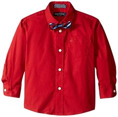 Nautica Boys' Long Sleeve Solid Shirt with Bow Tie ** Find out @