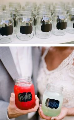 mason jars with chalk labels, to put your drinks in. - love the chalk labels for any cups! I am going to have to make a board just for things to do with Mason Jars. Wedding Favors, Wedding Reception, Rustic Wedding, Our Wedding, Dream Wedding, Party Favors, Trendy Wedding, Favours, Drinks Wedding