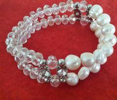 Pulsera de dos hilos de perla y cristal checo. Kml