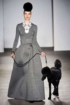 Just walking the dog. In my gorgeous dress. @ Isaac Mizrahi (poodles and cakes!)