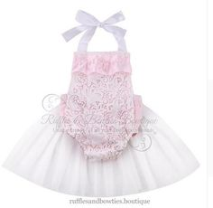 Lacey Pink & White Vintage Lace Tulle Romper Tutu