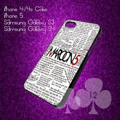 Maroon 5 Quote for iPhone 4/4s/5/5s/5c, Samsung Galaxy s3/s4 case