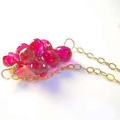 Pink Raspberry Quartz Bubble Briolette Necklace by YourDailyJewels