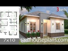 Simple House Design Plans with 3 Bedrooms Full Plans - House Plans Simple House Plans, My House Plans, Simple House Design, Layouts Casa, House Layouts, Flat Roof House, House Construction Plan, Three Bedroom House Plan, Model House Plan