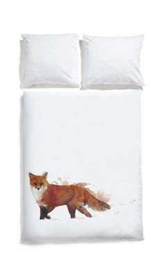 White pocket bedding #fox #white #bedlinen #watercolor
