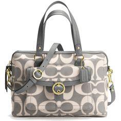 Coach Grey Handbag Penelope Outline Signature Buckle Satchel (C311) via Polyvore