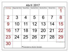 Livre! Calendários para abril 2017 para imprimir