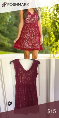 NWT Red Dress Boutique dress Wine colored lace dress with gold lining underneath. Never worn-no damages. Dresses