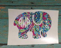 Ella marfil inspirado monograma elefante, preppy, Lilly Pulitzer/marfil Ella etiqueta engomada/etiqueta, etiqueta de teléfono, Ipad, etiqueta engomada del ordenador portátil, cubierta de la caja, etiqueta, verano