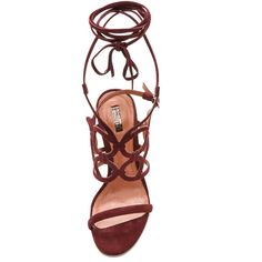 Schutz Naty Cutout Sandals - Vino (1 690 ZAR) ❤ liked on Polyvore featuring shoes, sandals, heels, buckle sandals, lace-up heel sandals, high heel sandals, ankle strap sandals и lace up shoes