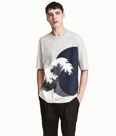 Check this out! Wide-cut, crew-neck T-shirt in cotton jersey with dropped shoulders. - Visit hm.com to see more.