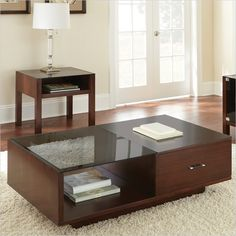 Steve Silver Company Lamar Modern Cocktail Table in Cherry with Glass Insert Top - LM500C $362
