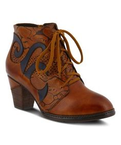 Camel Neasa Leather Bootie