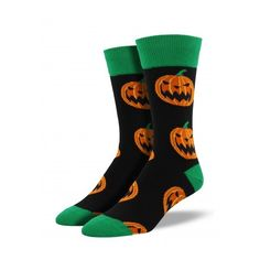 Enthusiastic Funky Men Pumpkin Dress Socks Novelty Funny Unisex Halloween Dark Green Casual Long Sock For Large Size Underwear & Sleepwears