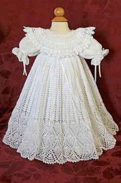 Blanco de bautizo / bendición vestido y Slip por CherryHillCrochet