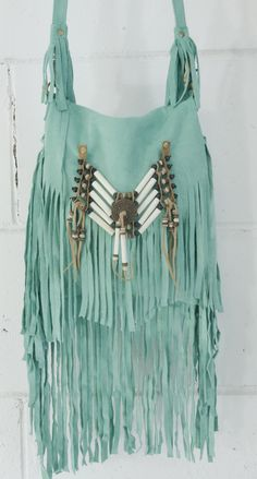Bone & Tassle Suede Pouch / Turquoise