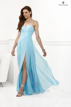 Fashion Long 2013 Light Blue Chiffon Empire Sweetheart Celebrity Style Prom/evening/bridesmaid Dresses Faviana 6428