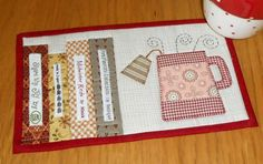 Tea and Books mug rug pattern. Not only is it time for tea - it is time to use those fabric selvages that you might normally toss out! This pattern is for sale for just $1.99 but it is also included in the Patchsmith's Hobby pattern book.