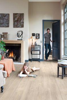 Quick-Step Laminate Flooring - Impressive 'Saw cut oak beige' in a classic living room. Basement Flooring, Home, Living Room Flooring, Oak Laminate Flooring, House Flooring, Living Room Remodel, Flooring, Room Flooring, Wood Laminate