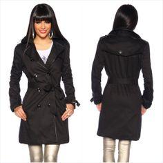 Übergang Fashion TRENCHCOAT Kurz-Mantel Jacke m Lederimitat - Schwarz, 36 bis 44 - http://stores.ebay.de/FEMMEstyle-Fashion/Young-Fashion-/
