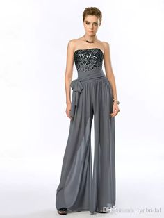 Show your best to all people even in the evening and then get beaded grey jumpsuit night out wear strapless chiffon evening women outfits runway fashion 2015 custom made in lynbridal and choose wholesale shop dresses,white evening gowns and womens formal dresses on DHgate.com.