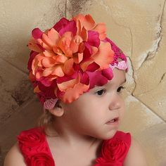 Passion Fruit and Raspberry Crochet Flower Baby Girl Hat #Melondipity