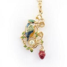 Kingfisher Short Pendant (Gold) Gold Pendant, Pendant Necklace, Kingfisher, Swarovski Crystals, Plating, Birds, Drop Earrings, Chain, Jewelry