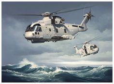 Merlin Mk2 Helicopter Aviation Art by Neil Hipkiss Aviation Artist
