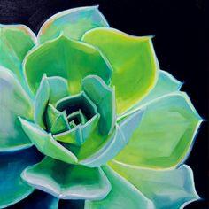 "Daily Paintworks - ""Glowing Succulent"" - Original Fine Art for Sale - © Karen Murphy Watercolor Succulents, Cacti And Succulents, Collages, Desert Art, Cactus Art, Art Tips, Fine Art Gallery, Art For Sale, Flower Art"