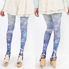 """Japanese harajuku cute jellyfish tights $15.00 Material: 50% nylon+40% polyeste+40% spandex Color: blue. Size: free size (150 cm - 165  cm / 58.5 """"- 64.35"""").  Tips: *Please double check above size and consider your measurements before ordering, thank you ^_^  visiting store: http://womenfashion.storenvy.com, find more cute fashion i..."""
