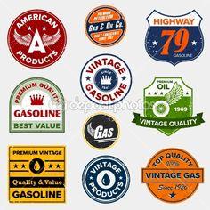 Vintage retro gas signs — Stock Vector #7979158