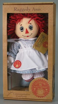 *RAGGEDY ANN: 95th Anniversary doll.The Raggedy Ann + Andy stories entertained succesive generations of American children,+ the cloth dolls of the characters have stayed in production since Volland issued the first dolls in 1918. After Volland, Raggedy Ann + Andy dolls were produced by Molly'es, Georgene, Knickerbocker, Applause, Hasbro, + others. In addition to the dolls, thousands of other toys and products for children bear the likeness of the the lovable duo.