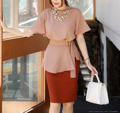Korean Women`s Fashion Shopping Mall, Styleonme. Office Outfits Women, Stylish Work Outfits, Cute Casual Outfits, Frock Fashion, Skirt Fashion, Fashion Dresses, Western Dresses For Women, Mini Skirt Style, Beautiful Dress Designs
