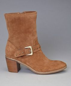 Cognac Suede Brier Ankle Boot by Anne Klein on #zulily today!