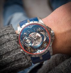 What a beast of a watch! Roger Dubuis Quatuor with a Cobalt case, 390,000 CHF, Limited Edition of 8 pieces. Captured by our own David Bredan ○ Read the article at: http://www.ablogtowatch.com/roger-dubuis-excalibur-quatuor-cobalt-micromelt-watch/ ⌚Follow us: #sihhabtw