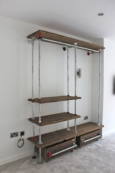 Belle Reclaimed Scaffolding Board and Galvanised Steel Pipe Industrial Open Wardrobe/Dressing Room System with Powder Coated Fittings Belle zurückgefordert Gerüstbau Board und verzinkte Stahl Industrie offen Garderobe/Dressing Zimm Vintage Industrial Furniture, Industrial Interiors, Pipe Furniture, Furniture Design, Furniture Ideas, System Furniture, Inexpensive Furniture, Furniture Websites, Furniture Removal