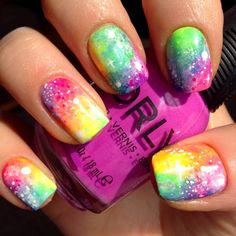 Galaxy nail art with candy coated colors #candycoated