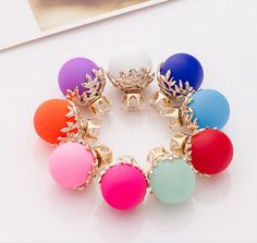 Hot Selling Earrings Double Side Matte Neon Color simulated  Pearl Zircon Crown Big simulated  Pearl Earrings For Women 8 Colors