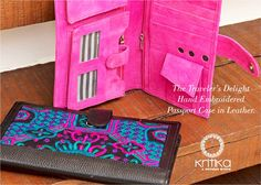 Enjoy your travels with tons of style. Presenting Kritika's hand embroidered passport cases. Handmade in 100% leather, these lovely littles can store all your travel essentials in one place. Upto 3 passports, credit cards, sim cards, photographs, stationery and more. Interested ? Order now! Contact Sonal Jain 9820530692