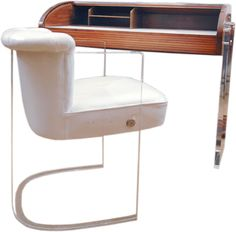Vladimir Kagan Roll-Top Desk and Plexiglas Chair Acrylic Furniture, Glass Furniture, Furniture Storage, Plexiglass Ideas, Office Designs, Modern Desk, Desks, Art Deco, Antique