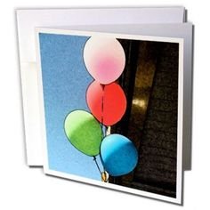 NEW Jos Fauxtographee Realistic - A Blue, Green, Pink and Red Balloon in a Fresc #PINK
