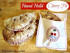Lady Behind The Curtain - Hand Held Cherry Pies. The bag could be made with parchment paper, and stamped with edible ink then sewn up, it could hold cookies also.