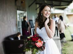 The handsome Ferris couple Adam and Kirsten married on Nov 12 Kirsten is looking radiant wearing a beautiful Allen Rich gown 'Scarlett' from Bridal and Ball NZ. Photos by Emma Willetts Photography