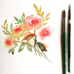 Florals in fall palette. Love the warm hues and browns. Illustration by Zakkiya Hamza of Inkstruck Studio